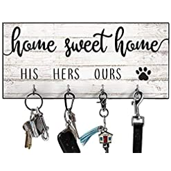 Entryway His, Hers, Ours, Paws Key Holder for Wall | Entryway Key Hook Decorative, Rustic Key Hangers for Wall | Farmhouse Home…