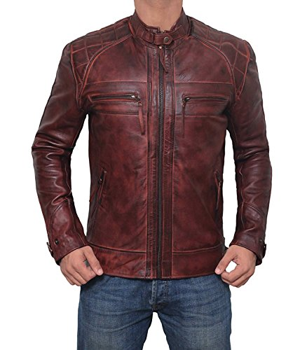 Genuine Mens Brown Leather Jacket - Premium Lambskin Leather Motorcycle Jacket