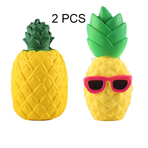 Anboor 2 Pcs Squishies Pineapple Jumbo Slow Rising Kawaii Scented Soft Toy for Kids Decompression Squeeze Japanese Toy Decorative Props Color - Japanese Sunglasses