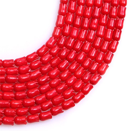 Coral Beads for Jewelry Making Semi Precious Gemstone 3.5x4mm Flower Shape Red Strand 15