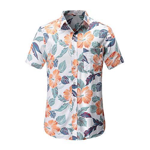 930f498d Men's Pineapple Flower Casual Button Down Short Sleeve Aloha Hawaiian Shirt  (Plain ...
