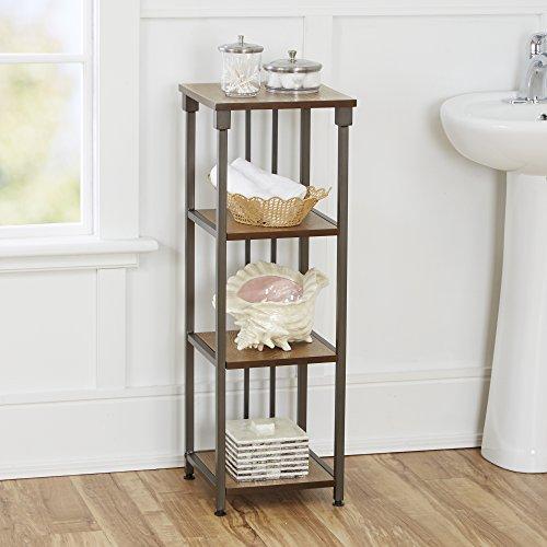 "Silverwood Mixed Material Bathroom Collection 4-Tier Floor Shelf 4, 35"" H, Gunmetal"