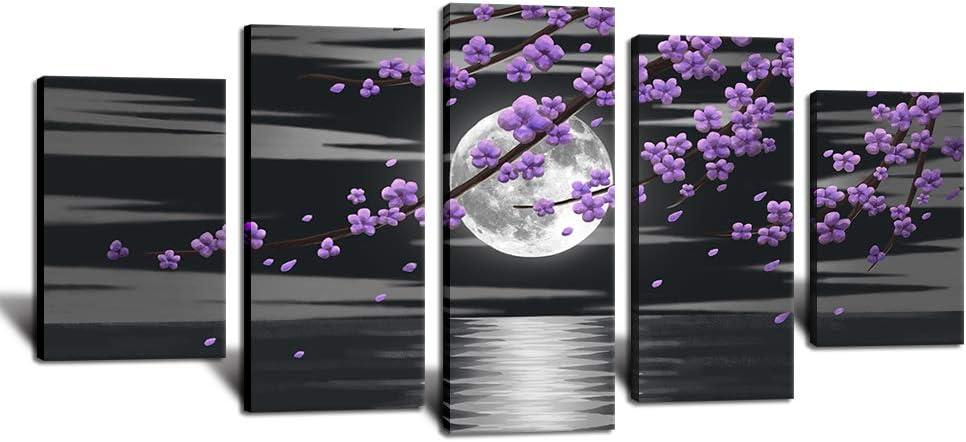 HOMEOART Purple Flower Wall Art Full Moon Seascape Black and White Large 5 Panels Living Bedroom Decor 60