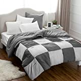 Alternative Comforter - King Printed Comforter Duvet Insert-Grey Down Alternative Comforter with Decorative Pleate Diamond Stitching Design 102