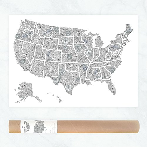 Floral Travel Map or Political Map of USA States to Color In as DIY Flowers Wall Art