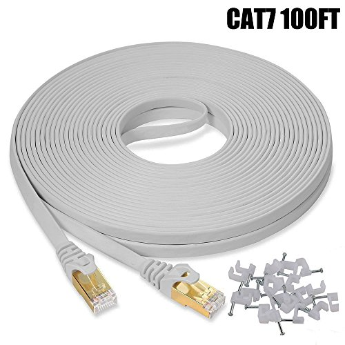 Cat7 Ethernet Cable 100 FT White, BUSOHE Cat-7 Long Flat RJ45 Computer Internet LAN Network Ethernet Patch Cable Cord - 100 Feet