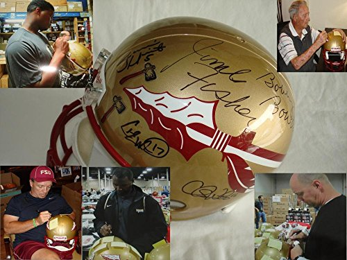 Coach Bobby Bowden Coach Jimbo Fisher Charlie Ward Chris Weinke Jameis Winston Signed Autographed Florida State Seminoles Full Size Replica Football Helmet