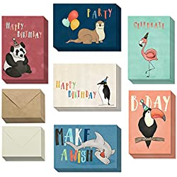 Animal Happy Birthday Cards with Envelopes - Greeting Cards for Men, Women, Boys & Girls