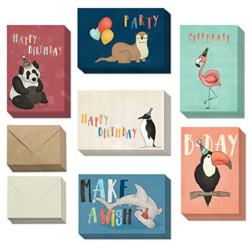 Friends Stationery - Animal Happy Birthday Cards with Envelopes - Greeting Cards for Men, Women, Boys & Girls