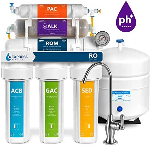 Express Water Alkaline Reverse Osmosis Filtration System – 10 Stage RO Mineralizing Water Filter – Mineral, Antioxidant, pH + – Under Sink Purifier with Remineralization – 100 GPD with Pressure Gauge