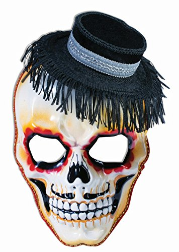 Forum Novelties Men's Day Of The Dead Senor Skull Mask and Hat with Eyeglass Arms, Multi, One Size (Mexican Day Of The Dead Mask)
