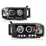 dodge ram 2500 quad cab head lamp - VIPMotoZ 2002-2005 Dodge RAM 1500 2500 3500 LED Halo Headlights Headlamps, Driver and Passenger Side