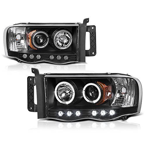 [For 2002-2005 Dodge RAM 1500 2500 3500] LED Halo Ring Black Projector Headlight Headlamp Assembly, Driver & Passenger Side
