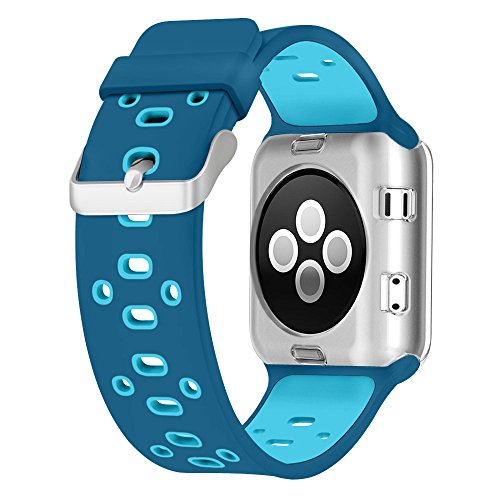 Apple Watch Breathable Band 38mm, UMTELE Silicone Replacement Wristband Sport Strap with TPU Protective Case for Apple Watch Nike+, Series 2, Series 1, Sport, Edition, Blue Orbit/Gamma Blue