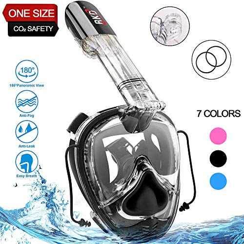 Full Face Snorkel Mask,Snorkeling Mask,180°Panoramic View,Free Breathing Anti-Fog Anti-Leak Full Face Snorkeling Mask with Go-pro Mount,Against CO₂ Build-Up,One Size for Kids and Adults (All Black)