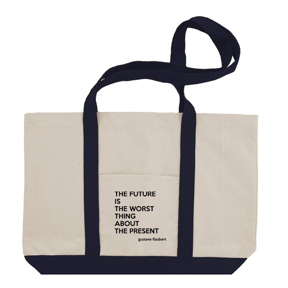 0a4b59886a3c Amazon.com  The Future Is The Worst Thing About The Present (Gustave  Flaubert) Cotton Canvas Boat Tote Bag Tote - Black  Clothing
