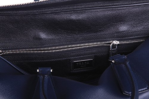 Prada sac porte-documents homme en cuir saffiano travel blu