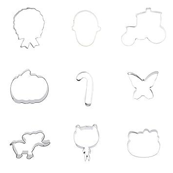 9 piezas cortador de galletas galletas gato gatito mamá mariposa muleta bastón calabaza flotador zapatillas Flip Flop insignia: Amazon.es: Hogar