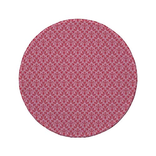 Non-Slip Rubber Round Mouse Pad,Damask,Abstract Middle Ages Motif Blooming Nature Theme Floral Arrangement Curves Decorative,Pink Dark Coral,11.8