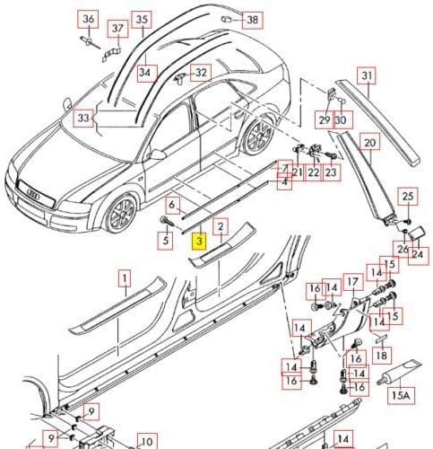 06-18 N//S 8E08539597DL OEM Moulure de porte inf/érieure gauche RS4