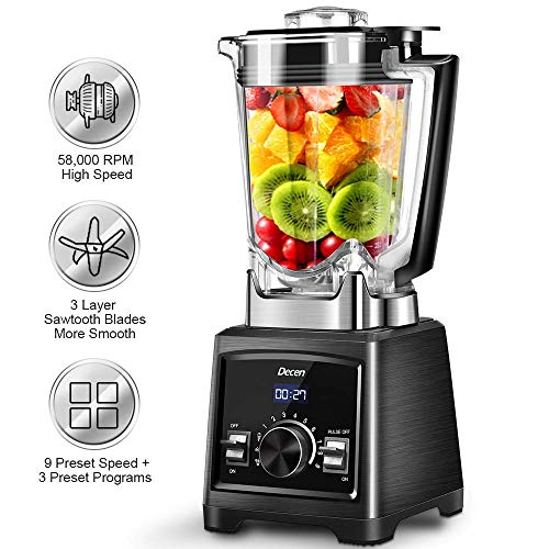 Professional Blender, 1450W Smoothie Blender with 72 Oz BPA-Free Pitcher, 58000 RPM High Speed Blender with 6 Layer Sawtooth Stainless Steel Blades for Ice Cream, Baby Food, Smoothie, and Coffee Bean (Industrial Blender)