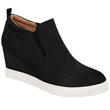 f715532418 Amazon.com: Enjoybuy Womens Platform Wedge Sneakers Slip On Ankle Booties  High Top Comfortable Walking Shoes: Clothing