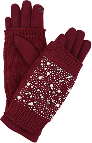 Sakkas 16163 - Tam Rhinestone Pearl Touch Screen Tip Knitted Glove With Removable Sleeve - Burgundy - L/XL