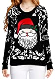 Image of Ugly Christmas sweater, V28 Women Girls ladies 3D Cute Santa Xmas Knit Sweater(S, Cute Black)