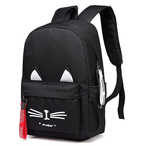 85a612367fcf DIOMO School Bookbag Backpack Cute Cat Waterproof Travel Daypacks Fits 15.6  inch Laptop (Black)