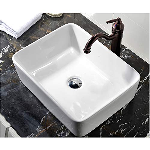 Top Mount Bathroom Sink - VCCUCINE Rectangle Above Counter Porcelain Ceramic Bathroom Vessel Vanity Sink Art Basin
