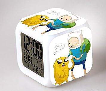 Amazon.com : Kawaii Kids Anime Adventure Time LED Action Figure Alarm Clocks Reloj Despertadores Flash Light Up Toys Finn And Jake Saat Clock : Baby