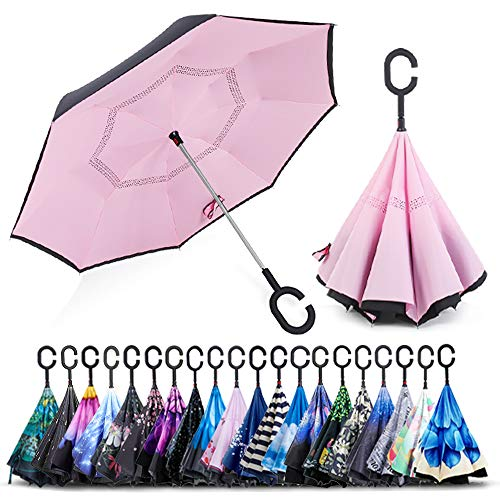 ZOMAKE Double Layer Inverted Umbrella Cars Reverse Umbrella, UV Protection Windproof Large Straight Umbrella for Car Rain Outdoor With C-Shaped Handle(Pink)