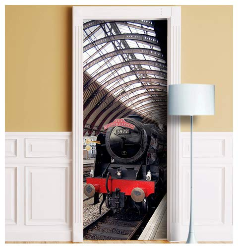 (Wizard Express Train Door Mural. ONE Piece Sticky Mural, Decal, Skin, Wrap, Cover, Poster for Door, Wall or Fridge. Railway Station (Variant 1, 36