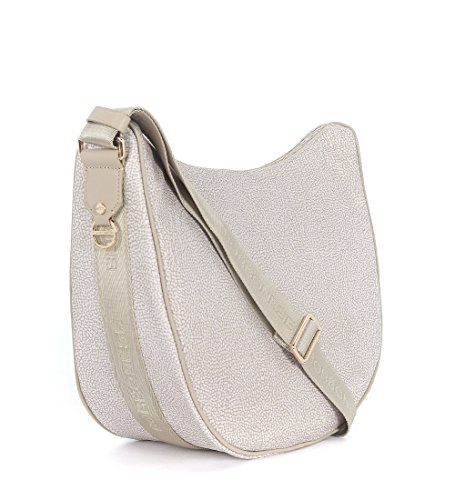 Sac à bandoulière Borbonese luna bag medium en jet sable