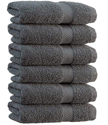 White Classic Luxury Hand Towels Gray - Soft Circlet Egyptian Cotton | Highly Absorbent Hotel spa Bathroom Towel Collection | 16x30 Inch | Set of 6 | Grey