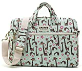 DACHEE Green Giraffe Pattern Waterproof Laptop Shoulder Messenger Bag Case Sleeve for 12 inch 13 inch Laptop and 11/12/13.3 inch