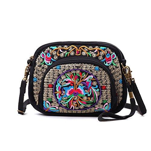 (Embroidery Flowers Canvas Crossbody Bag, Women Messenger Bag, Cellphone Pouch Purse)