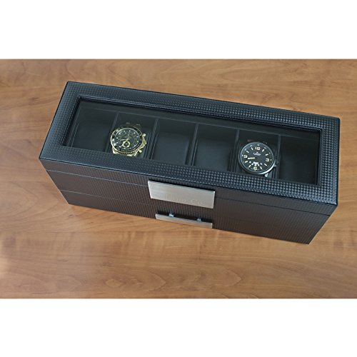 Glenor Co Watch Box with Valet Drawer for Men 6 Slot Luxury Watch