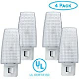 ClearMax 4 Pack Night Light Plug w/ON Off Toggle, Night Lamp w/Replaceable Bulb - UL Certified 4 Watt ...