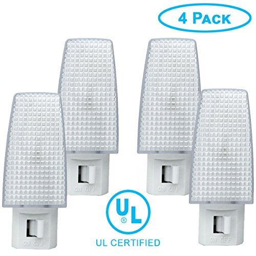 ClearMax 4 Pack Night Light Plug w/ON Off Toggle, Night Lamp w/Replaceable Bulb - UL Certified 4 Watt …