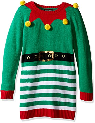 Blizzard Bay Girls' Big 3D Pom Tunic Xmas Sweater, Green/red Combo, L 14 ()