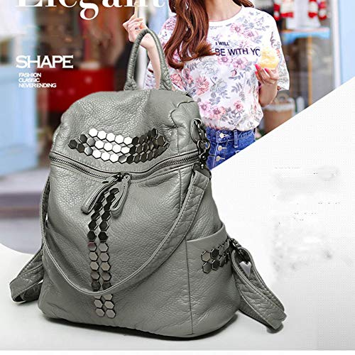 Hasageis Bag Handbags hlh Washed Leather Pu Backpack Wind Shoulder Genuine gris Gris Tide College Women's Bags Travel Backpack ranr07