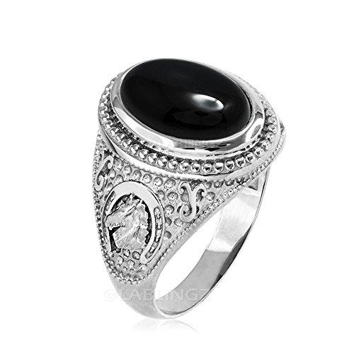 10K White Gold Lucky Horseshoe Black Onyx Gemstone Ring (15)