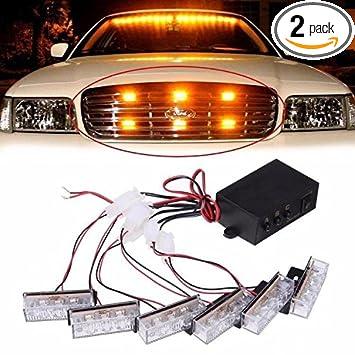 Vehicle Strobe Lights >> Amazon Com 6x3 Amber Amber Led Emergency Grille Vehicle