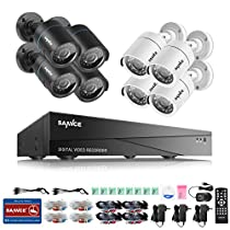 SANNCE Smart Security Camera System 8-Channel HD 1080N DVR and (8) 720P Indoor/Outdoor Weatherproof Cameras - NO HDD
