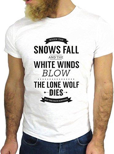 T SHIRT JODE Z1440 SNOW FALLS WHITE WIND LONE WOLF DIES FUN COOL FASHION NICE GGG24 BIANCA - WHITE L