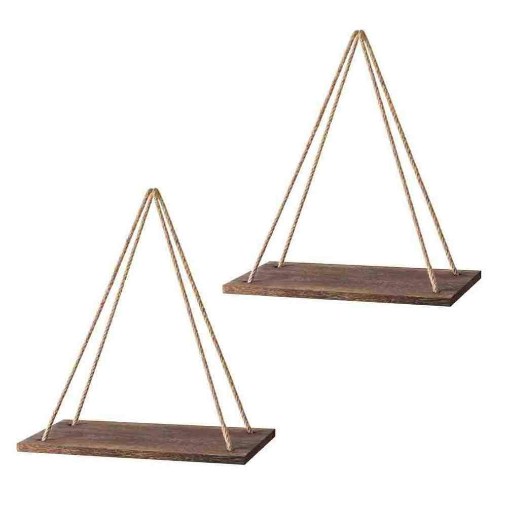 GSM Brands Hanging Shelf- Floating Swing Storage Shelves Rope Decorative Organizer Rack, Set of 2, Rustic Brown Color