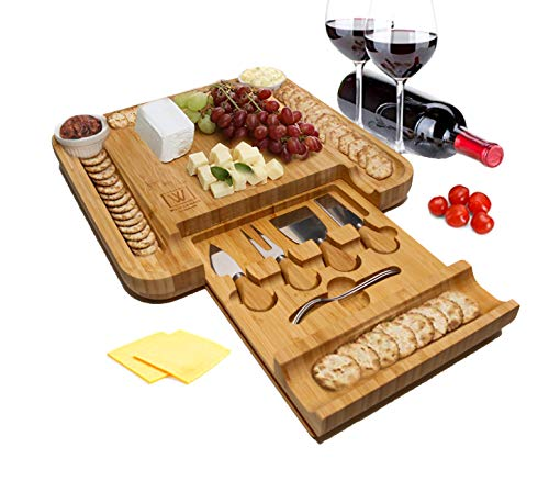 Wolfe and Brauner Bamboo Charcuterie Board Set - Cheese Board Platter and Serving Tray with Stainless Steel Cutlery in Slide Out Drawer along with 2 Ceramic Cups for Spreads