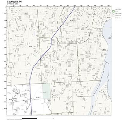 Amazon Com Zip Code Wall Map Of Southgate Mi Zip Code Map Not