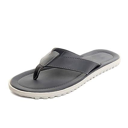 Pantofole HUYP Grigio Flip Flops Casual da Uomo Semplice Pizzico E Ciabatte Scarpe  da Spiaggia Estive 339000fb399